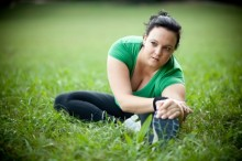 Woman stretching at park