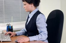 Businesswoman works concentrated